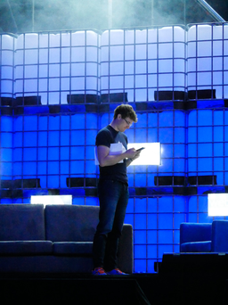 Paddy Cosgrave on the main stage at the Web Summit in Lisbon