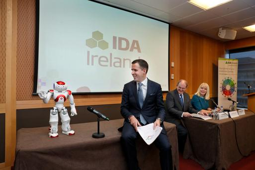 Martin Shanahan, CEO, IDA Ireland with Watson the Android who introduced the press conference