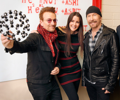 Nuritas founder Dr Nora Khaldi with U2's Bono and the Edge who became investors in the company last month