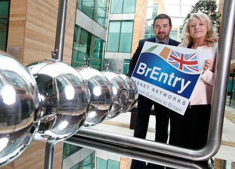 CEO of Magnet Networks Mark Kellett and Louise McKeown launch the BrEntry initiative Picture: Conor McCabe