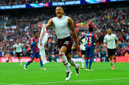 Jesse Lingard of Manchester United celebrates after scoring the winning goal in last year's FA Cup final against Crystal Palace. Photo: Getty