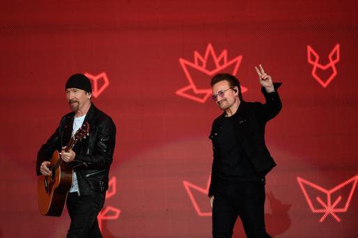The Edge and Bono on stage during the Canada Day Celebrations in Ottawa last weekend