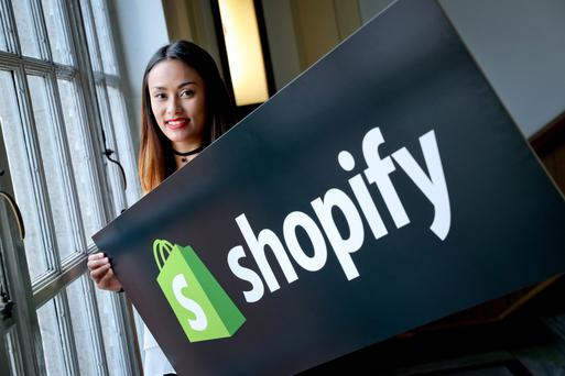 Shopify employee Adriane Tabuena at the announcement of 100 new jobs in Ireland. Photo: Maxwells