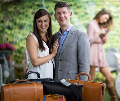 'The day that I see a knocked-off My Name is Ted bag on Henry Street I will have a big grin,' says Brendan McEvoy, pictured with wife Kasia and some of their luxury bags. Photo: David Conachy