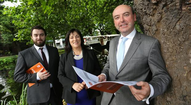 'Building for the future: pictured at the launch of Ibec's Budget 2018 submission are Ibec Senior Economist Gerard Brady, Ibec President Anne Heraty and Ibec Director of Policy and Public Affairs, Fergal O' Brien. Photo: Gary O'Neill