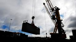 Tower crane drivers working in Dublin's docklands Stock photo: Bloomberg