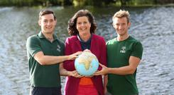 Olympic medallists Paul and Gary O'Donovan and FBD Group CEO Fiona Muldoon pictured at the launch of the new product. Photo: Julien Behal