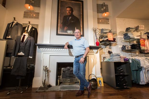 Eamonn Cunningham founder of EJ Menswear, at his Gratton Stree store in Sligo — a former Bank of Ireland building which he bought in 2001. Photo: James Connolly