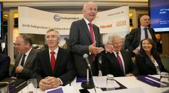 INM chairman Leslie Buckley, centre, at yesterday's AGM. Photo: Frank McGrath