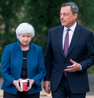 Federal Reserve chair Janet Yellen and ECB president Mario Draghi at the Jackson Hole summit Photo: Bloomberg