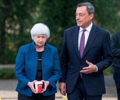 US Federal Reserve chair Janet Yellen with Mario Draghi, president of the European Central Bank, at the Jackson Hole economic symposium in Wyoming on Friday (Bloomberg)