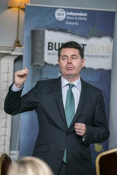 Paschal Donohoe at Budget 2018 presented by INM and sponsored by KPMG. Photo: Kyran O'Brien