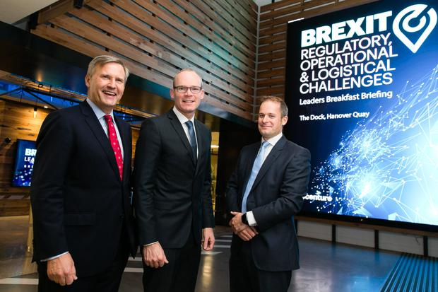 Simon Coveney TD, Minister for Foreign Affairs & Trade, Alastair Blair, Country Managing Director, Accenture Ireland and Adam Kelly, Managing Director, Financial Services, Accenture Ireland, at a business breakfast hosted by Accenture Ireland, which examined how various industries are beginning to address the challenges and opportunities Brexit poses.