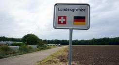 A Swiss border crossing with Germany near Basel. The country allows German helicopters to fly over its border, a Westminister committee was told yesterday.