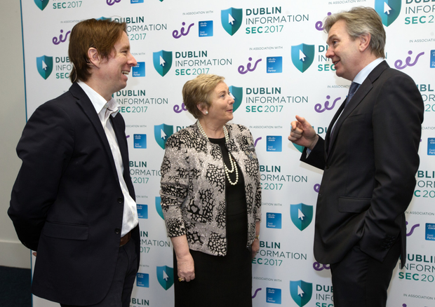 INM Technology Editor Adrian Weckler with Tanaiste and Minister for Business, Enterprise and Innovation Frances Fitzgerald and Stephen Rae, Group Editor-in-Chief, INM, at the Dublin Information Sec 2017 seminar in the RDS. Photo: Tony Gavin