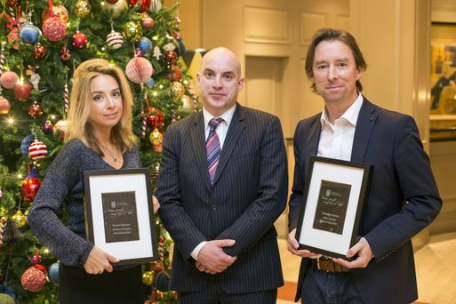 Business Editor of the Irish Independent Donal O'Donovan with Gretchen Friemann and Adrian Weckler winners of the UCD Michael Smurfit Graduate Business School, 11th Annual Business Journalist Awards, in association with open eir. Pic:Mark Condren 4.11.20