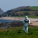 JJ McGettigan from the Emerald Garrison, a Star Wars costuming club, in Malin Head, Co Donegal, where filming for the next Star Wars movie took place. Photo: Niall Carson/PA