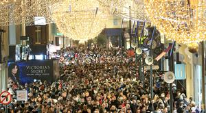 Christmas on Dublin's Grafton Street at the end of a year when personal spending, accounting for over half of domestic demand, rose by 1.9pc