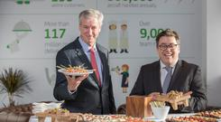 Dnata president Gary Chapman and senior VP of international catering Robin Padgett launching the new catering facility at Dublin Airport yesterday. Photo: Naoise Culhane