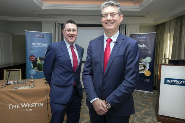 Kerry Group chief financial officer Brian Mehigan and CEO Edmond Scanlon as the food giant announced its results at the Westin Hotel. Photo: Tony Gavin