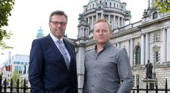 Alastair Hamilton, CEO, Invest NI, with Peter Coppinger, CEO of Teamwork.com, in Belfast