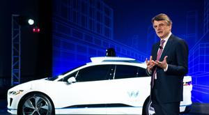 Ralf Speth in front of one of the company's I-PACE vehicles. Photo: Mark Kauzlarich/Bloomberg Finance LP