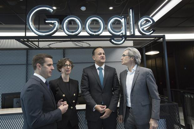 Martin Shanahan (left) and Taoiseach Leo Varadkar at Google – but Ireland relies too much on multinationals
