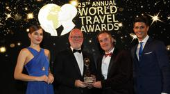 Paul Carnell, sales director and Killian Carroll, finance director of The Convention Centre Dublin accepting the award in Greece at the 25th Annual World Travel Awards