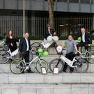 Dick Brady and Lauren Richards, Dublin City Council; Sean O'Dwyer, director of Urbo bikes; Celine Reilly, Dublin City Council; Hugh Cooney, CEO of Bleeperbike; Cllr Ciaran Cuffe; and Kevin Meade, Dublin City Council, at the announcement in May that two operators, Urbo and Bleeperbike, had been granted licences to operate bike-hire schemes.