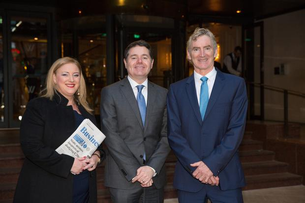 Briefing: Finance Minister Paschal Donohoe with Dearbhail McDonald and INM CEO Michael Doorly at the Westbury Hotel Photo: Mark condren