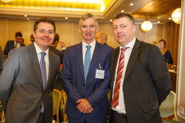 Pictured at the Budget Breakfast, supported by KPMG Ireland and held at the Westbury Hotel, are Minister Donohoe with INM CEO Michael Doorly and Conor O'Brien, head of tax and legal services at KPMG.