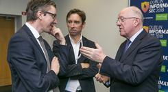 InfoSec: Justice Minister Charlie Flanagan with INM Group Managing Editor Ed McCann and Technology Editor Adrian Weckler