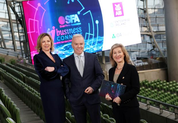 Sue O'Neill, SFA Chair and Managing Director, Shellcove; Richard Curran, MC; Catherine Moroney, Head of Business Banking, AIB.