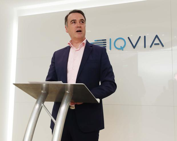Martin Giblin, country head of Iqvia Ireland, at the Dublin jobs announcement. Photo: Robbie Reynolds