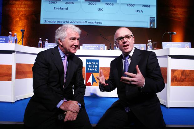 Before the storm: Sean FitzPatrick and David Drumm at Anglo Irish Bank's AGM in February 2008. Photo: Jason Clarke