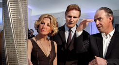 Hollywood actor Liam Neeson and his late actress wife Natasha Richardson – pictured with developer Garrett Kelleher – were enlisted to attend a glitzy launch for the initial project over a decade ago