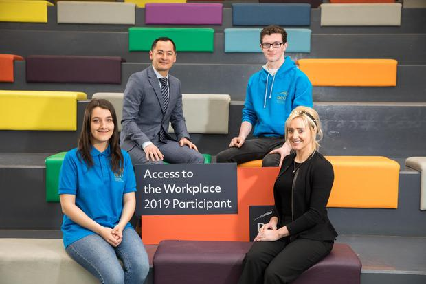 Gemma Treacy, DCU Access student; former Dublin footballer Jason Sherlock, from DCU Educational Trust, Seán McElwain, DCU Access student; and Fiona Hudson, DCU Access Service, are pictured at the launch of the programme in Dublin City University's campus in Glasnevin yesterday.