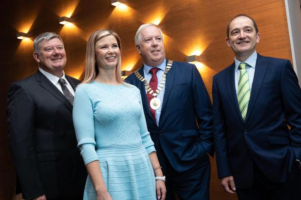 John Creedon, chair of the CPA Ireland conference; Lorraine Green, AIB; Gearoid O'Driscoll, president of CPA Ireland; and guest speaker Dr Declan Jordan, UCC Business School. Photo: Orla Murray SON Photo