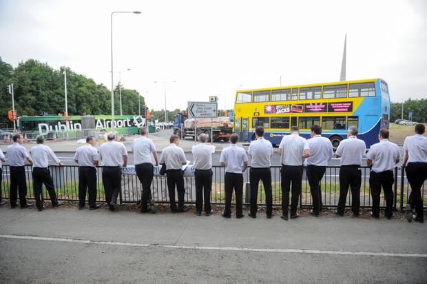 Pilots for Ryanair Holdings Plc and members of the Irish Air Line Pilots' Association on a picket line near Dublin Airport last July. Photo: Bloomberg