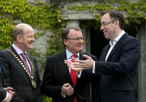 Pictured from left; Brian Purcell, President CPA Ireland, Economist Jim Power, Chair of the conference and Peter Garvey, Director, The Carlyle Group.