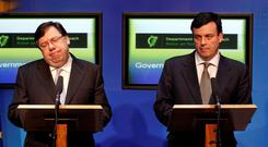 AT LOGGERHEADS: Of most interest to the Inquiry will be how Brian Cowen and Brian Lenihan came from a position of being on opposite sides to one of agreement on a night of great tension