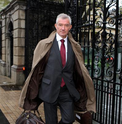 Bank of Ireland chief Richie Boucher arriving at the Banking Inquiry at Leinster House yesterday