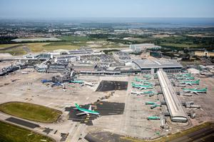 Runway: Aerial shot of Dublin Airport where the DAA wants to operate more flights on a new runway due to become operational next year. Photo: Jason Alden/Bloomberg