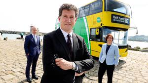 Financial return: Dublin Bus CEO Ray Coyne, Transport Minister Eamon Ryan and NTA CEO Anne Graham as BusConnect launched new routes in June. Photo: MAXWELLS