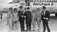 Cabin crew with Monsignor James Horan at Knock Airport for the first commercial Aer Lingus flights which took off on a pilgrimage to Rome.