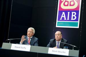 Pictured are AIB CEO David Duffy and CFO Mark Bourke speaking at the announcement of their results for the half year this July