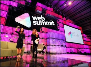 Hollywood actress Eva Longoria speaking to Jemima Khan at the Web Summit at the RDS.