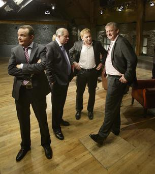 FIERY BUNCH: From Left, Barry O'Sullivan, Gavin Duffy, Sean O'Sullivan and Peter Casey on the set of RTE's Dragons Den