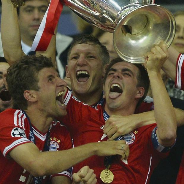 Players from Bayern Munich with the European Cup last year