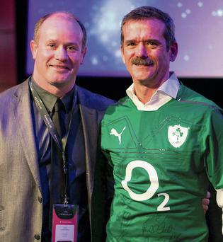 In Deman: Frankie Sheehan of Front Row with astronaut Chris Hadfield
